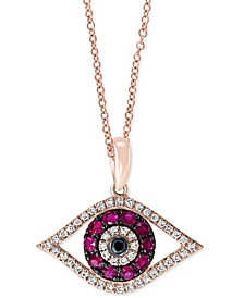 "EFFY® Certified Ruby (1/4 ct. t.w.) & Diamond (1/8 ct. t.w.) 18"" Evil Eye Pendant Necklace in 14k Rose Gold"