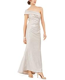 Petite Metallic One-Shoulder Gown