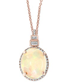 "EFFY® Opal (3-1/6 ct. t.w.) & Diamond (1/6 ct. t.w.) 18"" Pendant Necklace in 14k Rose Gold"