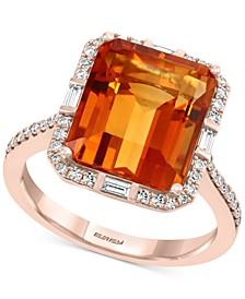 EFFY® Sahara Citrine (7-1/3 ct. t.w.) & Diamond (1/4 ct. t.w.) Ring in 14k Rose Gold