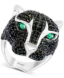 EFFY® Black Spinel (5-7/8 ct. t.w.) & Green Onyx Cat Statement Ring in Sterling Silver