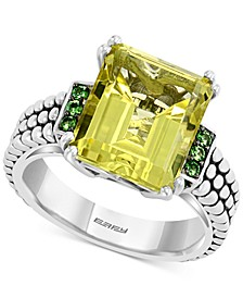 EFFY® Lemon Quartz (5-3/4 ct. t.w.) & Tsavorite (1/4 ct. t.w.) Ring in Sterling Silver