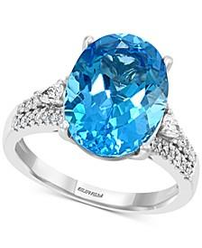 EFFY® Blue Topaz (7-1/10 ct. t.w.) & Diamond (1/3 ct. t.w.) Ring in 14k White Gold