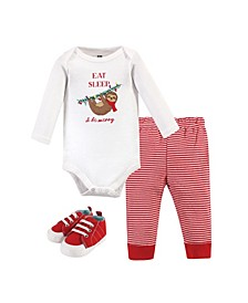 Baby Girls and Boys Christmas Sloth Bodysuit, Pant and Shoe Set, Pack of 3