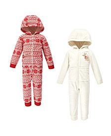 Baby Toddler Girls and Boys Reindeer Fleece Coveralls and Playsuits Jumpsuits, Pack of 2