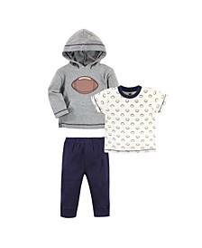Baby Toddler Boys Football Hoodie, Bodysuit or Tee Top and Pant Set, Pack of 3