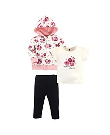 Toddler Girls Rose Hoodie, Bodysuit or Tee Top and Pant Set, Pack of 3