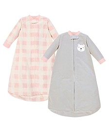 Baby Girls Bear Long-Sleeve Fleece Sleeping Bag, Pack of 2