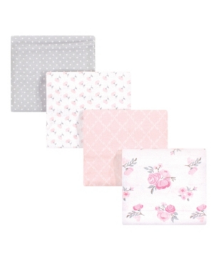 Hudson Baby Baby Girls Floral Flannel Receiving Blankets, Pack Of 4 In Multi