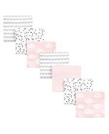 Baby Girls Clouds Flannel Receiving Blankets Bundle, Pack of 7