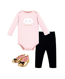 Baby Girls and Boys Dreamer Bodysuit, Pant and Shoe Set, Pack of 3
