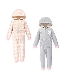 Baby Toddler Girls and Boys Bear Fleece Coveralls and Playsuits Jumpsuits, Pack of 2