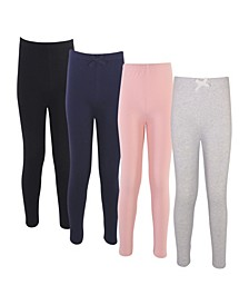 Baby Girls Solid Leggings, Pack of 4