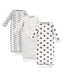 Baby Girls and Boys Hedgehog Henley Gowns, Pack of 3