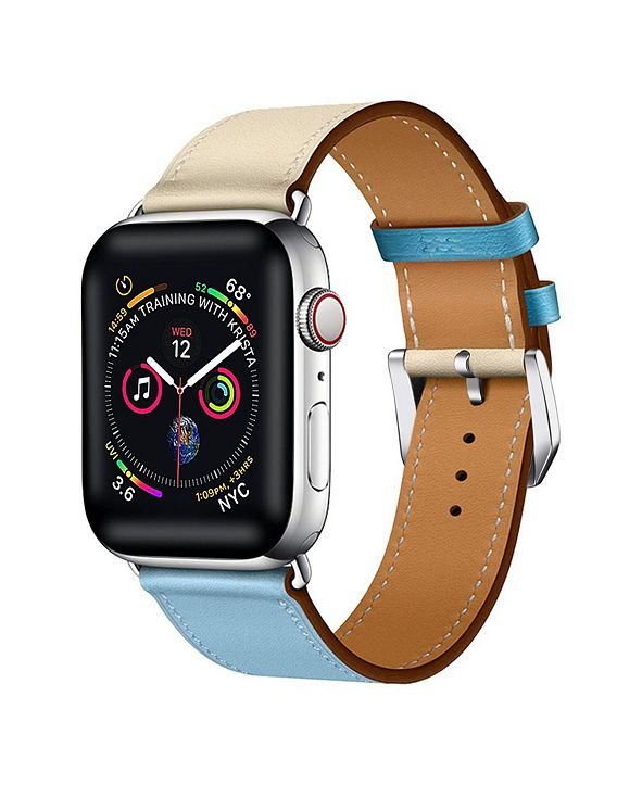 Posh Tech Men's and Women's Apple Blue and White Colored Leather Replacement Band 40mm