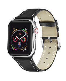 Posh Tech Men's and Women's Apple Black Leather Replacement Band 40mm