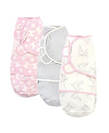 Baby Girls Bird Swaddle Wraps, Pack of 3