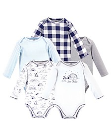 Baby Girls and Boys Arctic Long-Sleeve Bodysuits, Pack of 5