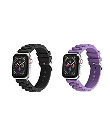Men's and Women's Apple Black Purple Link Silicone, Leather Replacement Band 44mm