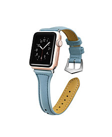 Posh Tech Men's and Women's Apple Light Blue Skinny Leather Replacement Band 44mm