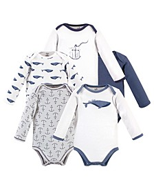 Baby Girls and Boys Whale Long-Sleeve Bodysuits, Pack of 5