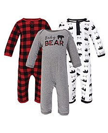 Baby Girls and Boys Bear Coveralls, Pack of 3