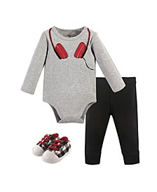 Baby Boys Headphones Bodysuit, Pant and Shoe Set, Pack of 3