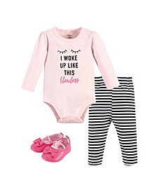 Baby Girls Flawless Bodysuit, Pant and Shoe Set, Pack of 3