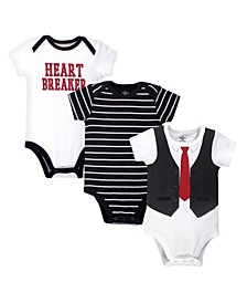 Baby Boys Heart Breaker Bodysuits, Pack of 3