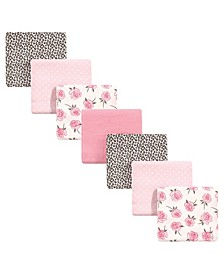 Baby Girls Rose Leopard Flannel Receiving Blankets, Pack of 7