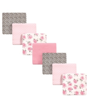 Little Treasure Baby Girls Rose Leopard Flannel Receiving Blankets, Pack Of 7 In Multi
