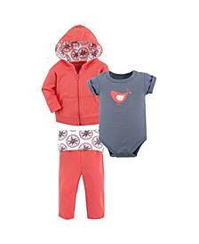 Baby Girls and Boys Bloom Hoodie, Bodysuit or Tee Top and Pant, Pack of 3