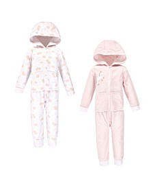 Toddler Girls and Boys Unicorn Yoga Sprout Hooded Fleece Jumpsuits, Pack of 2