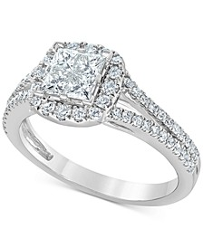 Diamond Princess Cluster Halo Engagement Ring (1 ct. t.w.) in 14k White Gold