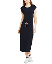 Cap-Sleeve Drawcord Midi Dress