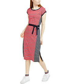 Colorblocked Striped Cotton Midi Dress