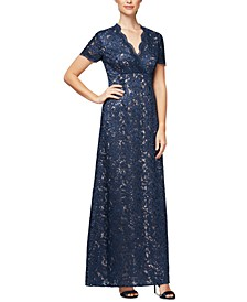 Sequinned Embroidered A-Line Surplice Gown