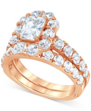 Certified Diamond (4 ct. t.w.) Emerald Halo Bridal Set in 18k White
