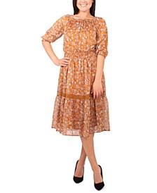 Petite Crochet-Trim Peasant Dress