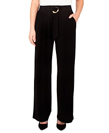 Petite Belted Wide-Leg Pants