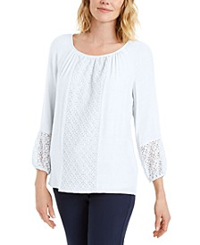 Solid Lace-Inset Top, Created for Macy's