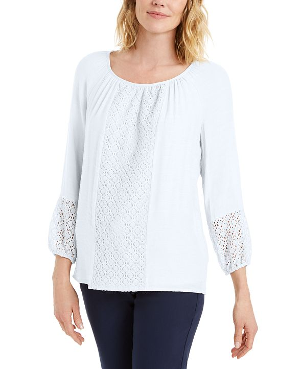 JM Collection Solid Lace-Inset Top, Created for Macy's