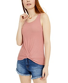 Juniors' Twist-Front Rib-Knit Tank Top
