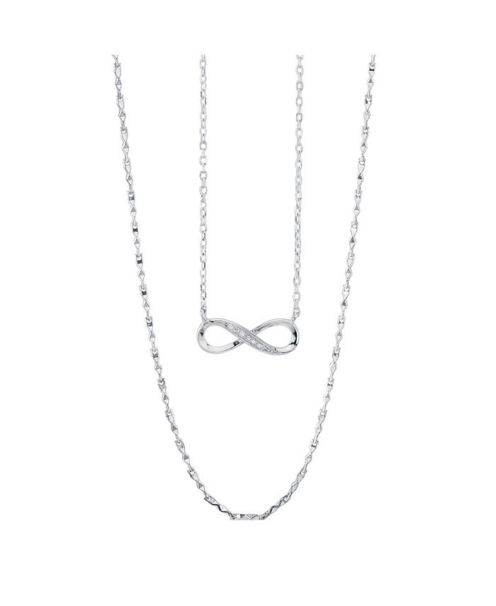 Unwritten - Fine Silver Plated Clear Cubic Zirconia Infinity Duo Necklace with Studded Second Chain