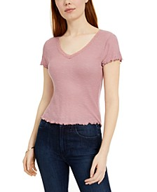 Juniors' Lace-Trimmed Lettuce-Edge T-Shirt