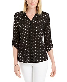 Mesh Dot-Print Button-Down Top, Created for Macy's
