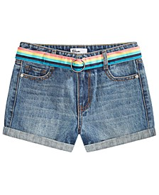 Big Girls Denim Shorts with Rainbow Belt, Created for Macy's