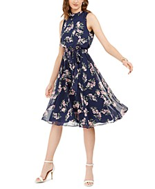 Floral-Print Tie-Belted Dress