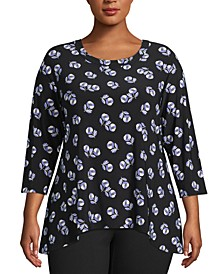 Plus Size Printed Bridge-Hem Top
