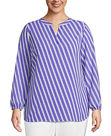 Plus Size Striped Blouson-Sleeve Top